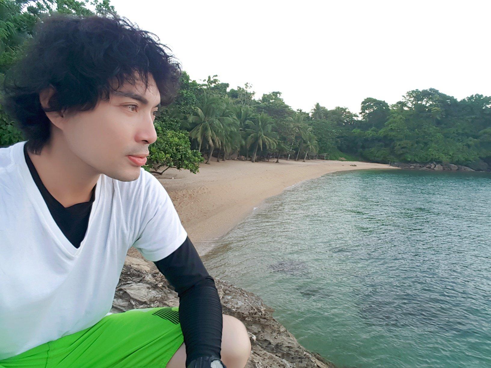 Me with the Virgin Beach behind me in Puerto Galera