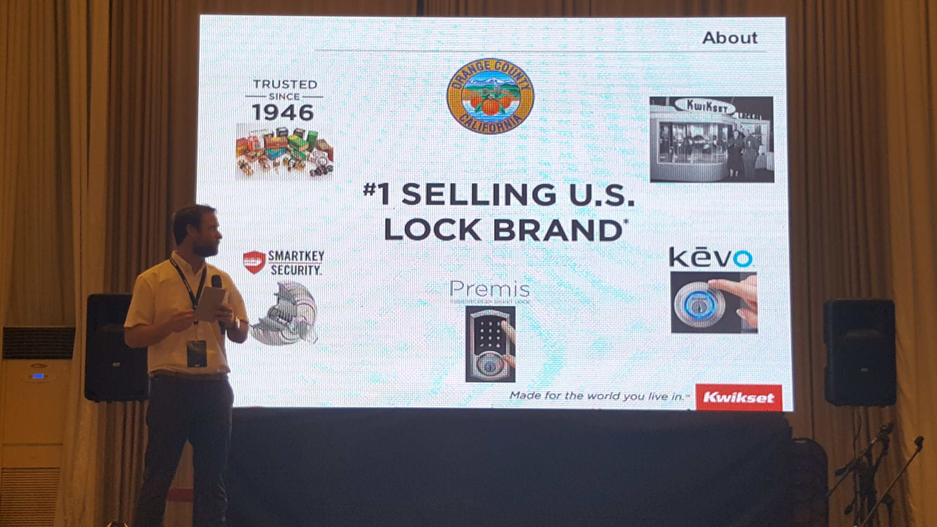Kevin Sander, International Brand Manager, discussing Kwikset's brand's premise and promise that is