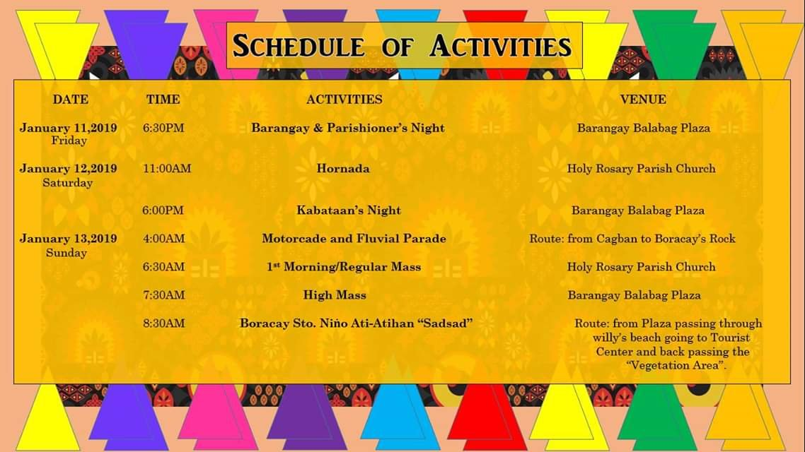 Boracay Ati-Atihan 2019 Schedule of Activities 1
